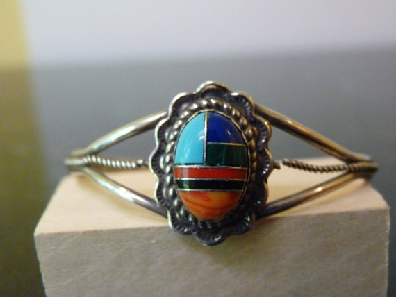 SALE Vintage Silver South Western Style Colorful Mosaic with Rope Cuff Bangle Bracelet