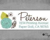 Return Address Labels -Whimsical Teal & Lime Floral Design with Dandelions -Personalized Custom - School Supplies, Holiday,, Birthday * Bree