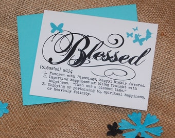 Greeting Card - Definition of Blessed with Rhinestones