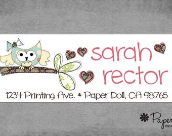 Address Labels - Owl on branch hearts - Stickers