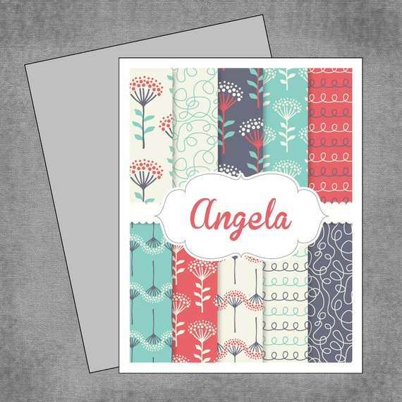 Whimsical Flower Note Cards - Teal, Red and Gray - Personalized Note Cards - Flat or Folded - Design: Angela