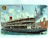 Chicago EXPO 1893 Postcard WHALEBACK Ship Christopher Columbus