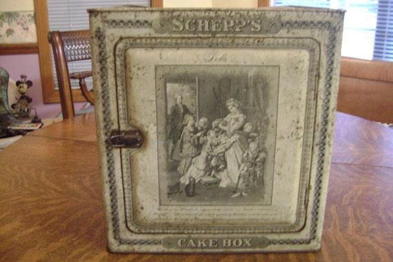 Antique Schepp S Coconut Cake Box Tin Store Display