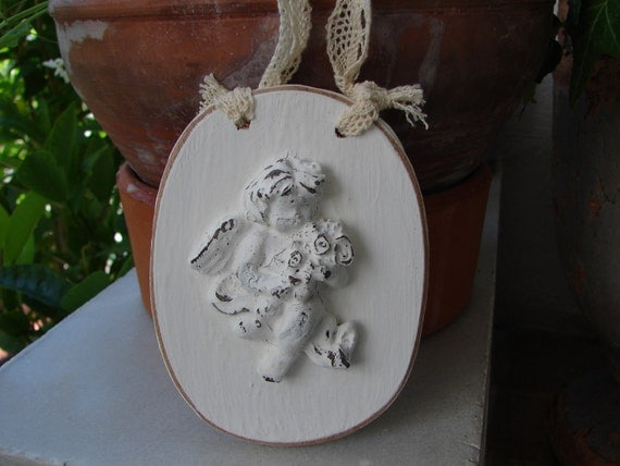 French Shabby Chic,wooden cherubs oval tag,room decoration/door hanger with vintage lace.