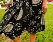 Thai Harem / Capri Pants, Batik Cotton, Hmong Hill Tribe Style, Black&Grey Swirls and Green Details (S-L) One Size Fits All