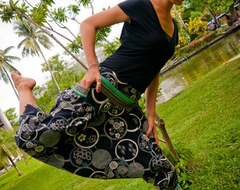 Thai Harem / Capri Pants, Batik Cotton, Hmong Hill Tribe Style, Grey Blue Print w Green Details