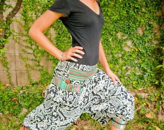 Thai Harem / Capri Pants, Batik Cotton, Hmong Hill Tribe Style, Black&White Paisley Print and Green Details (S-L) One Size Fits All