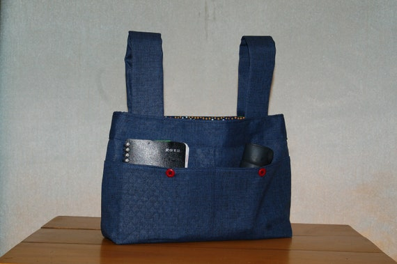 Power Wheelchair Bag - Solid Blue with a Lively Blue Lining, Popping with Color