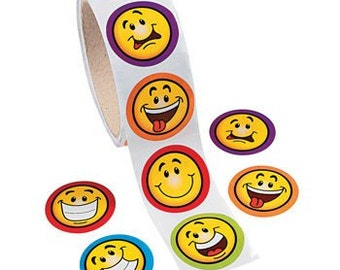 100 Goofy Smile Face Stickers - 1 Roll