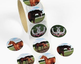 100 Horse Stickers - 1 Roll
