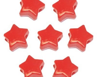 100 Red Opaque Star Pony Beads