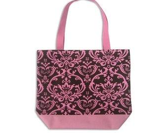 Personalized Medium Tote Brown & Pink damask