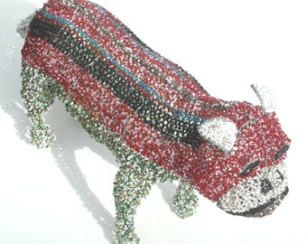 BULLDOG Sculptured from Wire and Beads - Hand Crafted in AFRICA