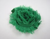 Grass Green Shabby Flower Hair Bow - Green Hair Clip - Flower Hair Bow - Shabby Chiffon Hair Clip - Infant Toddler Child Teenager Hair Clip