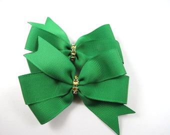 Green Hair Bows - Hair Bow Set - Pigtail Hair Bows - Green and Gold Hair Clips - Christmas Hair Bows Set - Toddler Teenager Adult Hair Clip