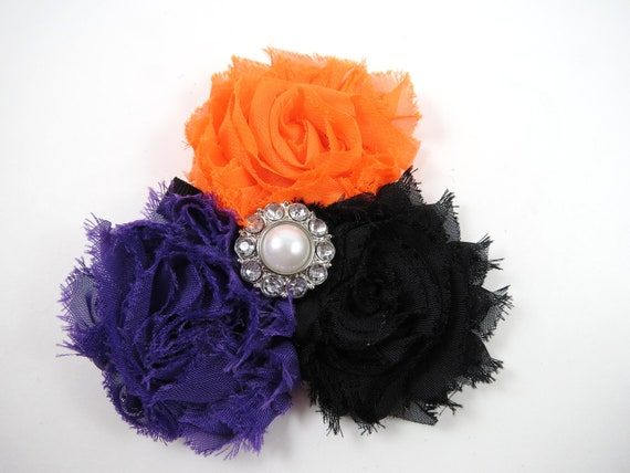 Purple Black and Orange Shabby Flower Hair Bow - Halloween Hair Clip - Infant Toddler Child Adult Hair Clip