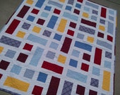 "CUSTOM ORDER for Candace 1Throw Quilt 50x60"" ""City Block"" featuring your fabrics"