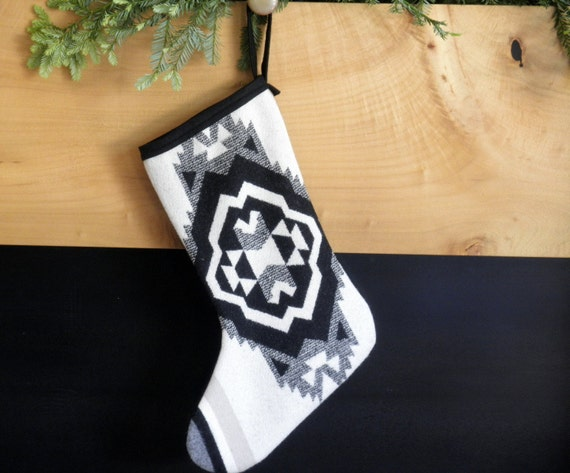 Tribal Christmas stockings,  Pendleton wool Navajo Concho pattern in blanket weight wool, white body and black