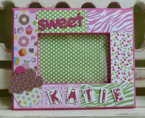 cupcake 5x7 picture frame personalized custom sweet sixteen 16 sweets candy girly birthday baby girl cherries