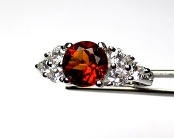 Spectacular Genuine Madeira Citrine in a Brilliant Accented Sterling Silver Setting
