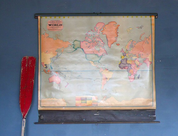 1940s Crams Unlettered Colored Outline Superior Series World Map