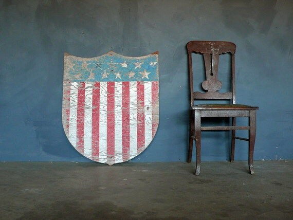 RESERVED do not by Reserved Patriotic 1930s  Americana Flag Shield