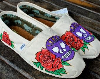 Dia De Los Muertos Sugar Skulls and Roses TOMS shoes