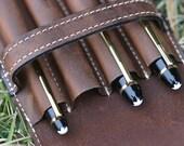 Vintage Leather Quadruple Pen Case