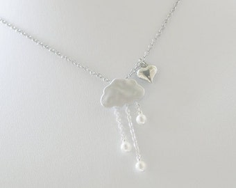 Rain Clouds Necklace. Silver Plated Clouds with White Pearls Rain Drops. Cute. Whimsical.