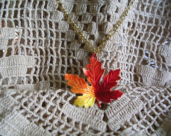 Small  Vermont Maple Leaf Pendant on Chain. Hand Painted.