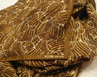 vintage rectangular 'Ellen Tracy' silk scarf - brown tones