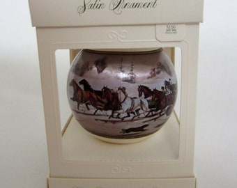 Hallmark Satin Ornament Currier & Ives Painting Reproductions circa 1977 in ORIGINAL BOX