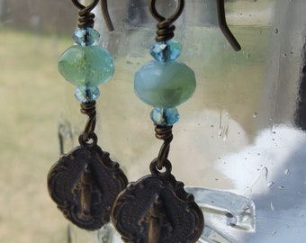 Miraculous Medal earrings w Chinese Glass