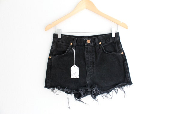 "Waist: 28.5""  Vintage Black High Waisted Wrangler Shorts"