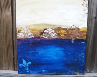 """Royal Blue De Lis ORIGINAL 16"""" x 20"""" Contemporary"""