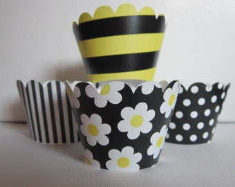 12 Yellow, Black & White Bee Cupcake Wrappers