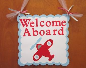 """Airplane """"Welcome Aboard"""" Door Hanger"""