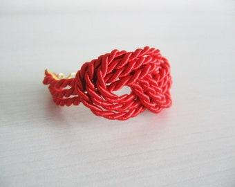 Tangerine red rope bracelet- nautical sailor's knotted bracelet- summer fashion hot trends
