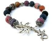 Beaded Bracelet, Dragon Veined Fire Agate, Lizard, Sun, Silver