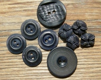 Mixed Lot of 10 Dark Navy Blue Vintage Buttons