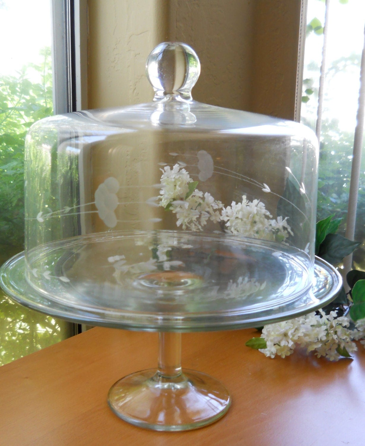 vintage glass cake stand and cloche cover. Black Bedroom Furniture Sets. Home Design Ideas