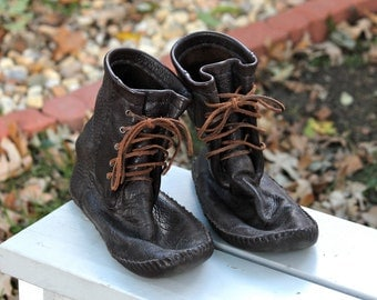 Leather Moccasin Boots / Shoes by Klutchcreations