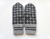 Hand Knitted Mittens - Gray and Black, Size Medium