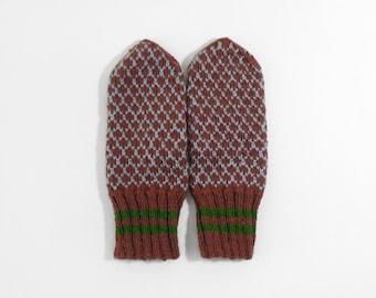 Hand Knitted Mittens - Brown, Size Medium