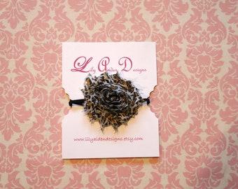 Leopard flower skinny headband/ Newborn headband/ Flower headband/ Shabby chic headband