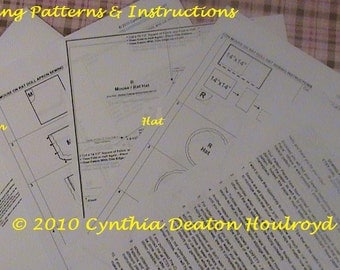 """PART #3 Option B - PATTERNS for Apron and Hat for 18"""" CDH """"Three Blind Mice..."""" Dolls"""