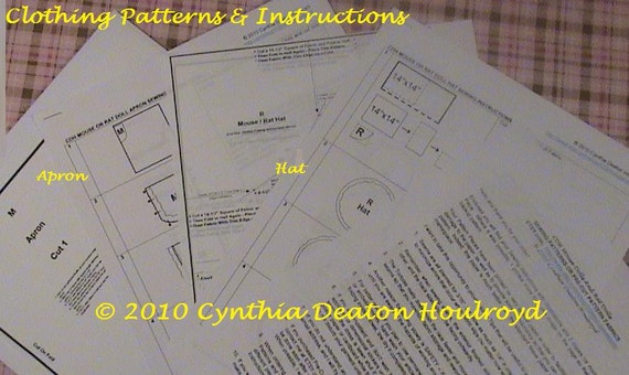 "PART #3 Option B - PATTERNS for Apron and Hat for 18"" CDH ""Three Blind Mice..."" Dolls"