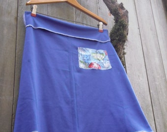 Funky Eco Upcycled Blue A-line Mini Skirt/ Vintage Cotton Stretch Knit A Line Skirt/ Blue Umbrellas Size M L
