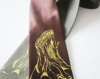 Tree Stump silkscreen neckties with gold ink. Microfiber screen printed outdoor tree tie.