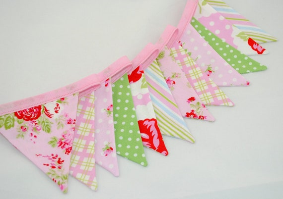 Mini Bunting - AFTERNOON TEA - perfect for Nurseries and Girls Bedrooms